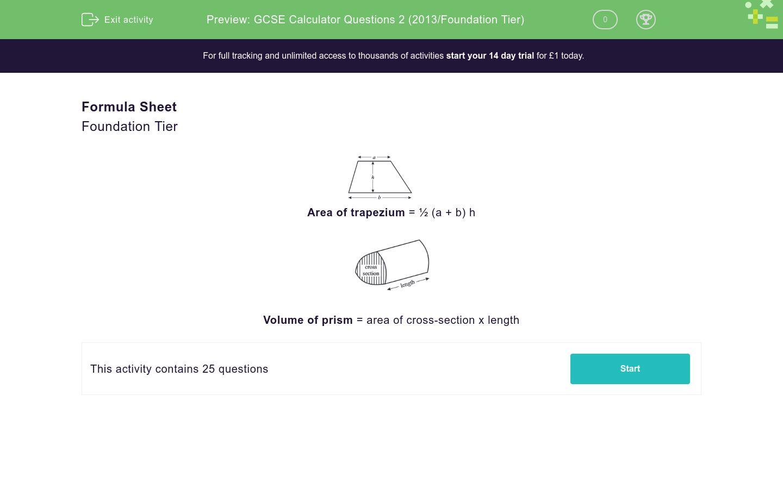 'GCSE Calculator Questions 2 (2013/Foundation Tier)' worksheet