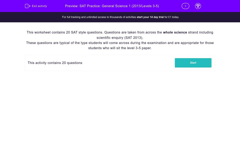 'SAT Practice: General Science 1 (2013/Levels 3-5)' worksheet