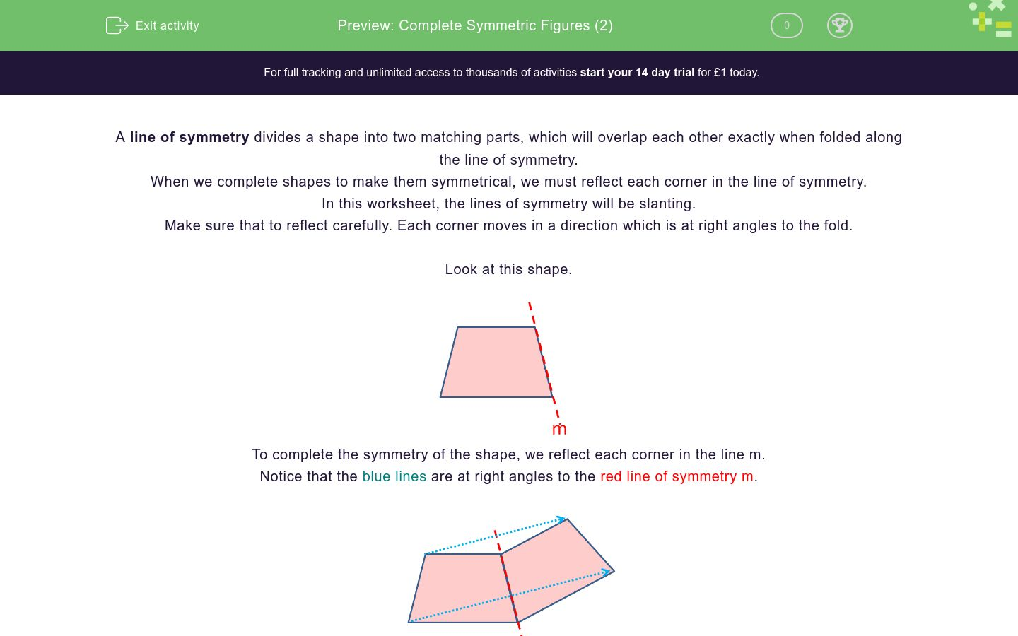 'Complete Symmetric Figures (2)' worksheet