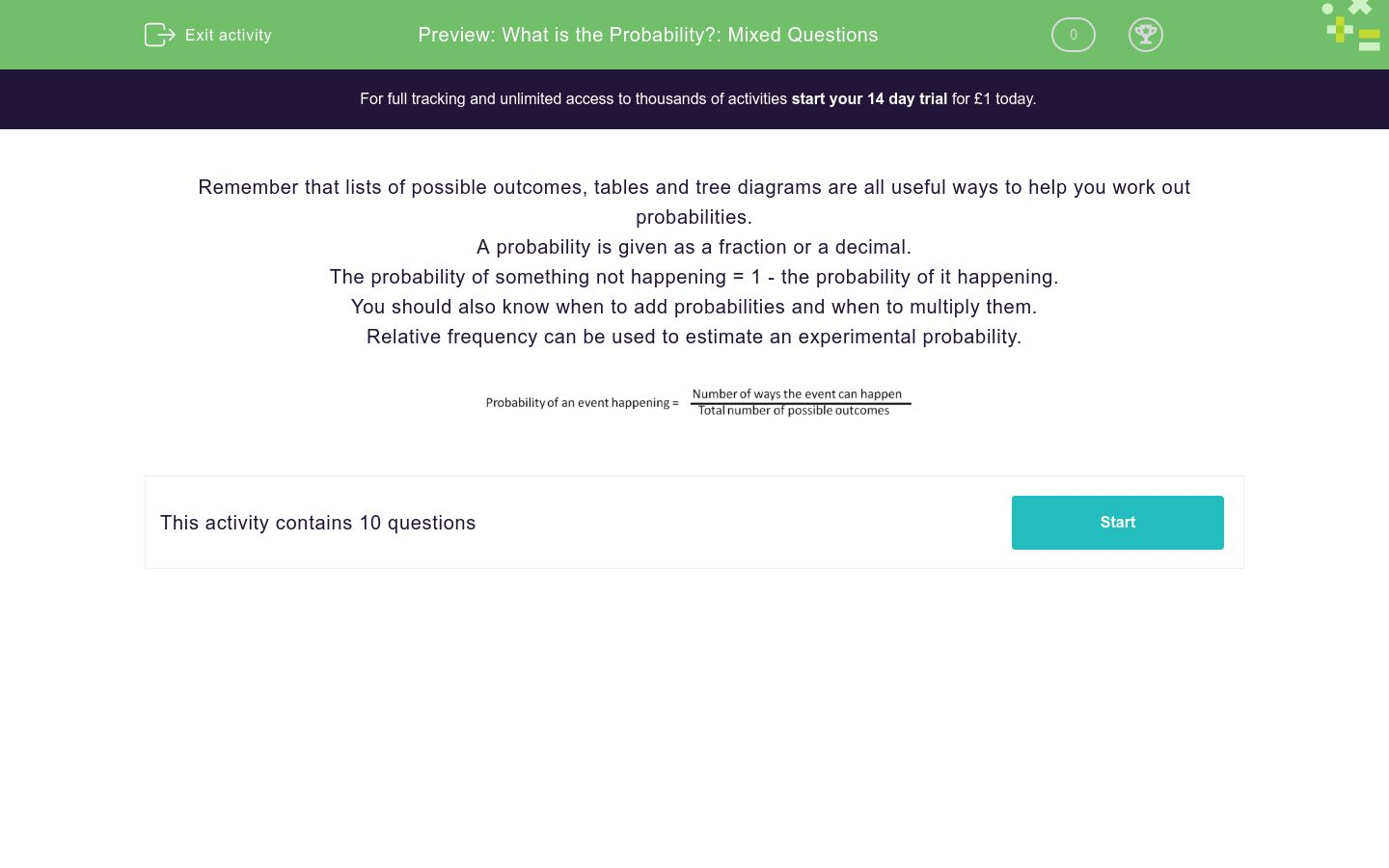 'What is the Probability?: Mixed Questions' worksheet