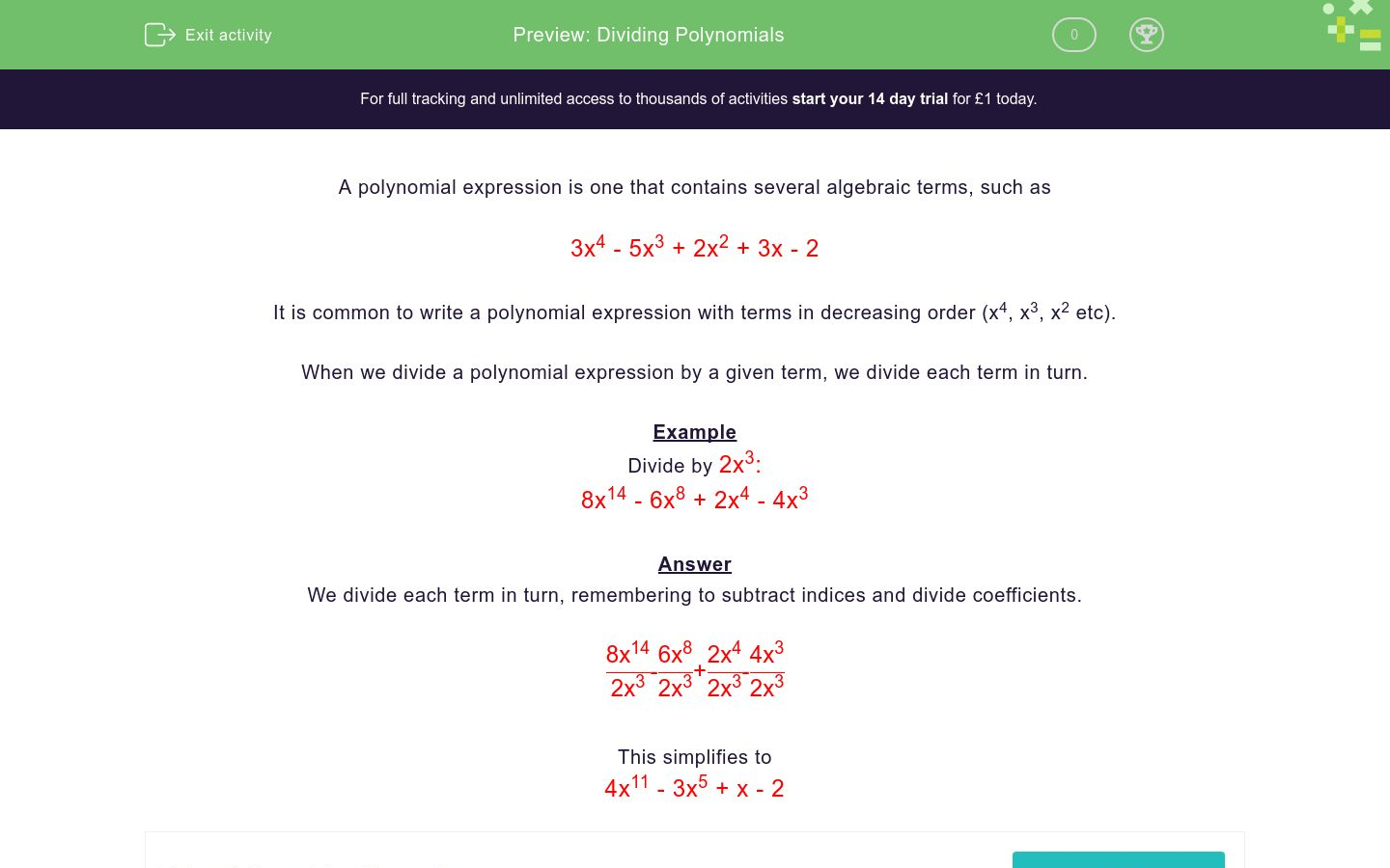 'Dividing Polynomials' worksheet