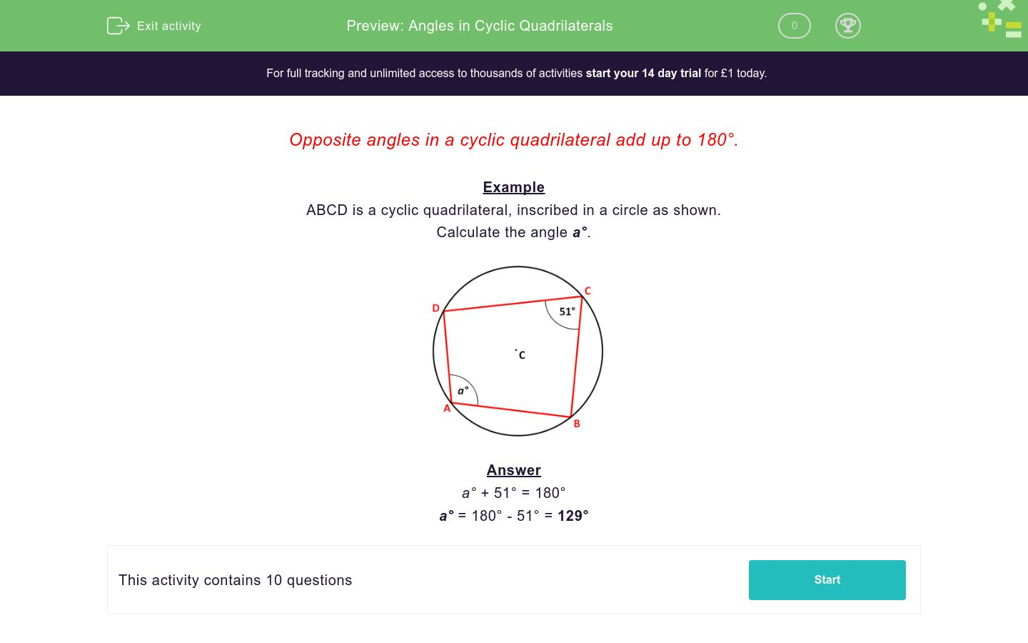 'Angles in Cyclic Quadrilaterals' worksheet