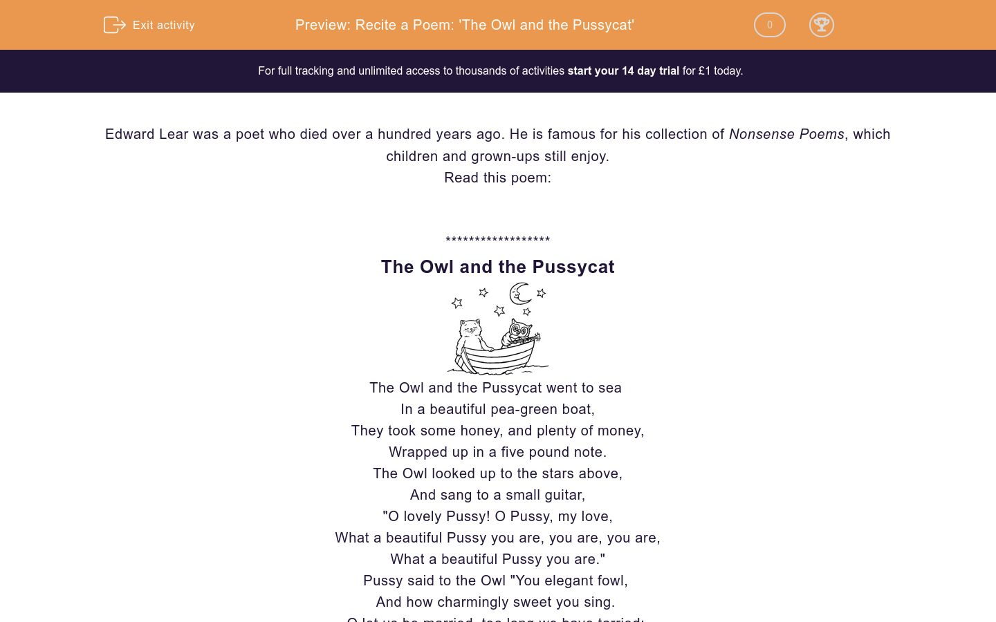 'Recite a Poem: 'The Owl and the Pussycat'' worksheet