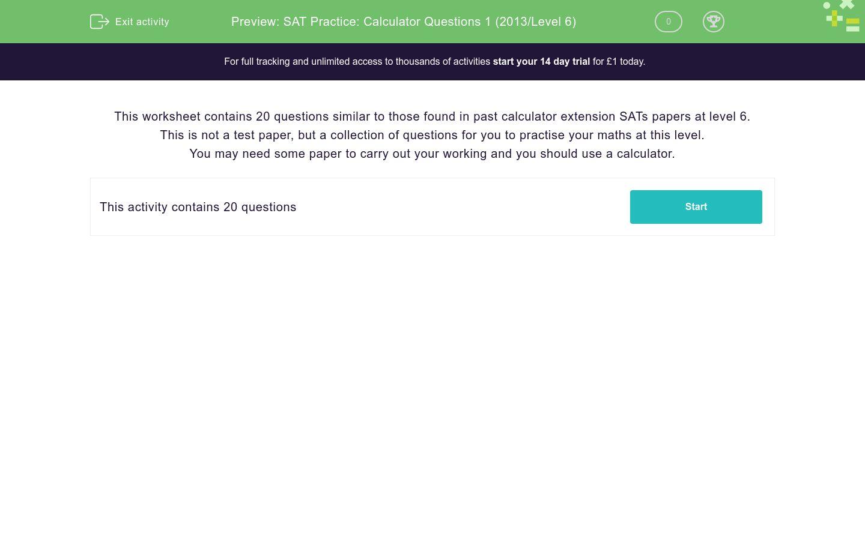 'SAT Practice: Calculator Questions 1 (2013/Level 6)' worksheet