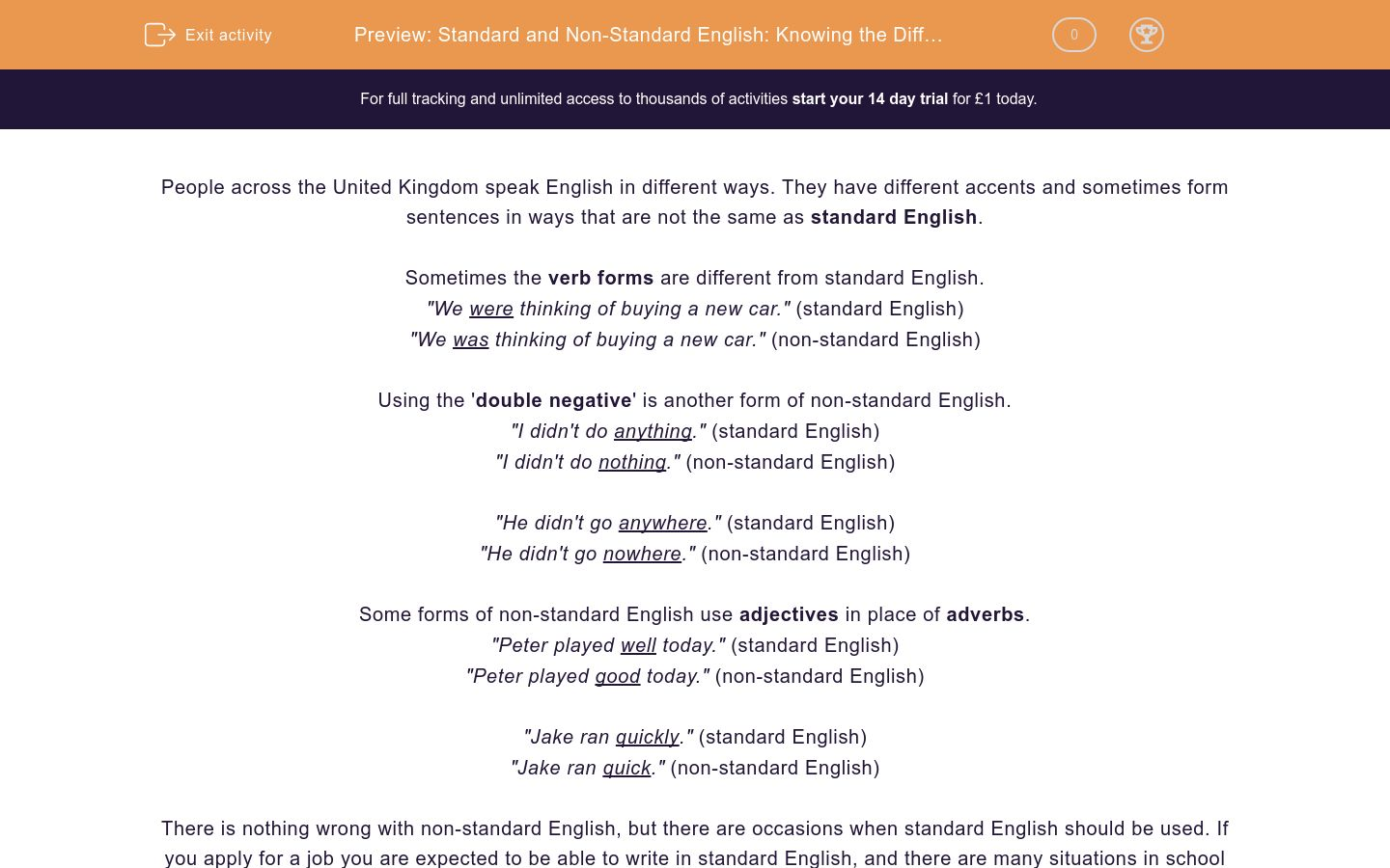 'Standard and Non-Standard English: Knowing the Difference' worksheet