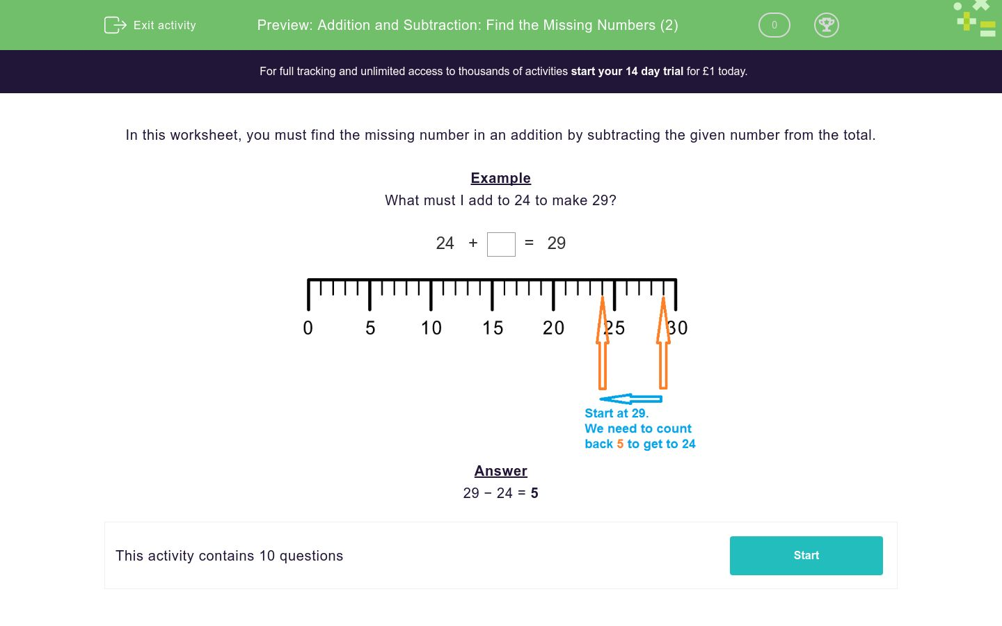 'Addition and Subtraction: Find the Missing Numbers (2)' worksheet