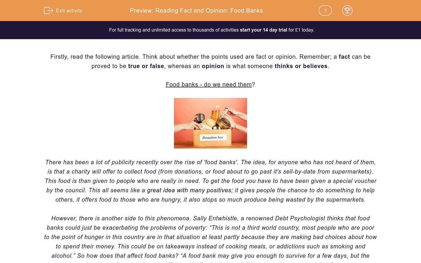 'Reading Fact and Opinion: Food Banks' worksheet