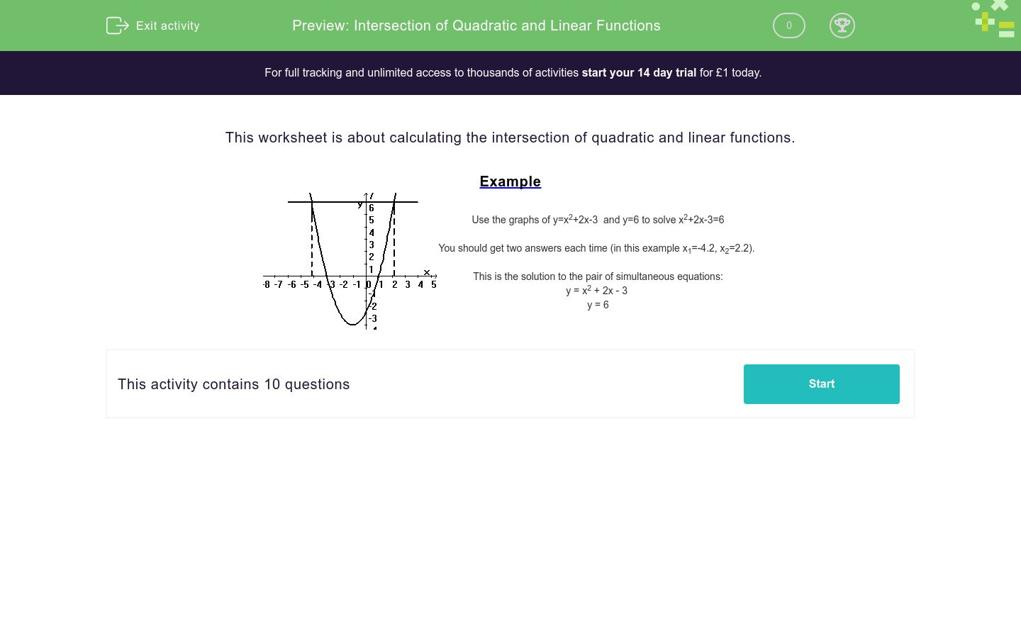 'Intersection of Quadratic and Linear Functions' worksheet