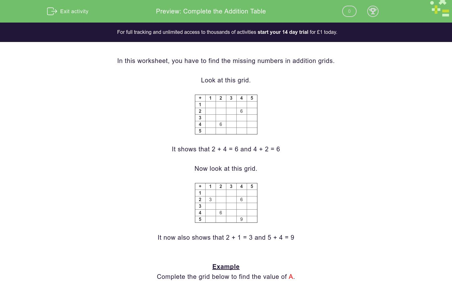 'Complete the Addition Table' worksheet