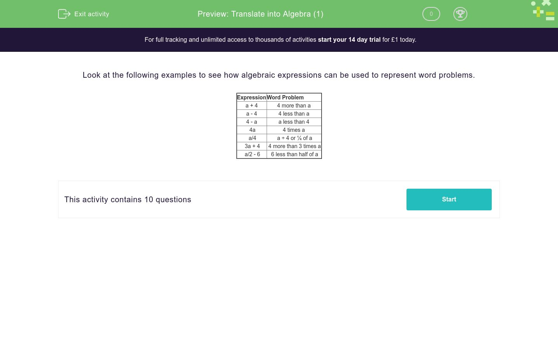 'Translate into Algebra (1)' worksheet