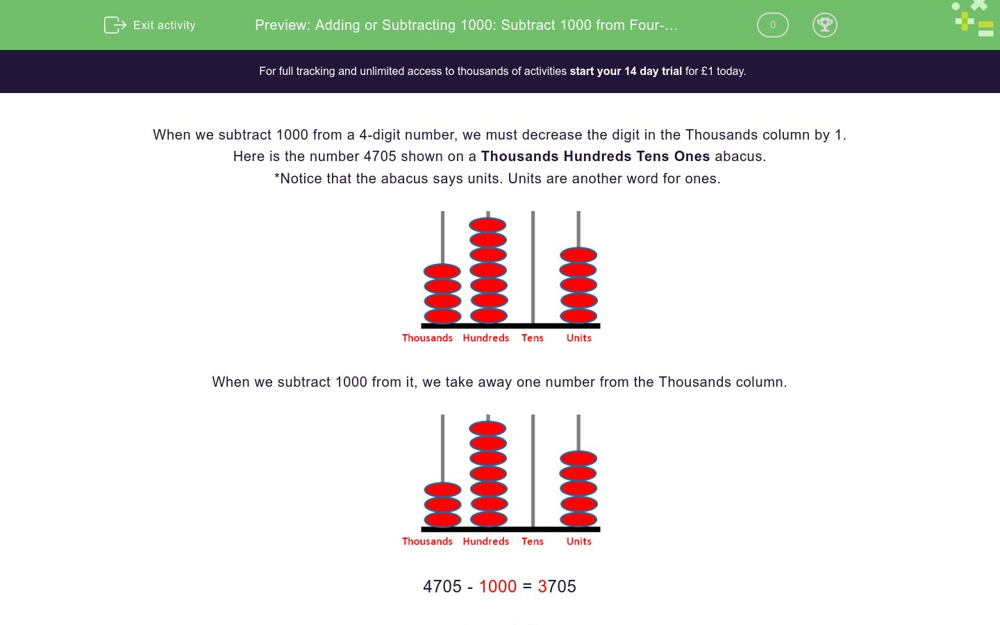 'Adding or Subtracting 1000: Subtract 1000 from Four-Digit Numbers' worksheet