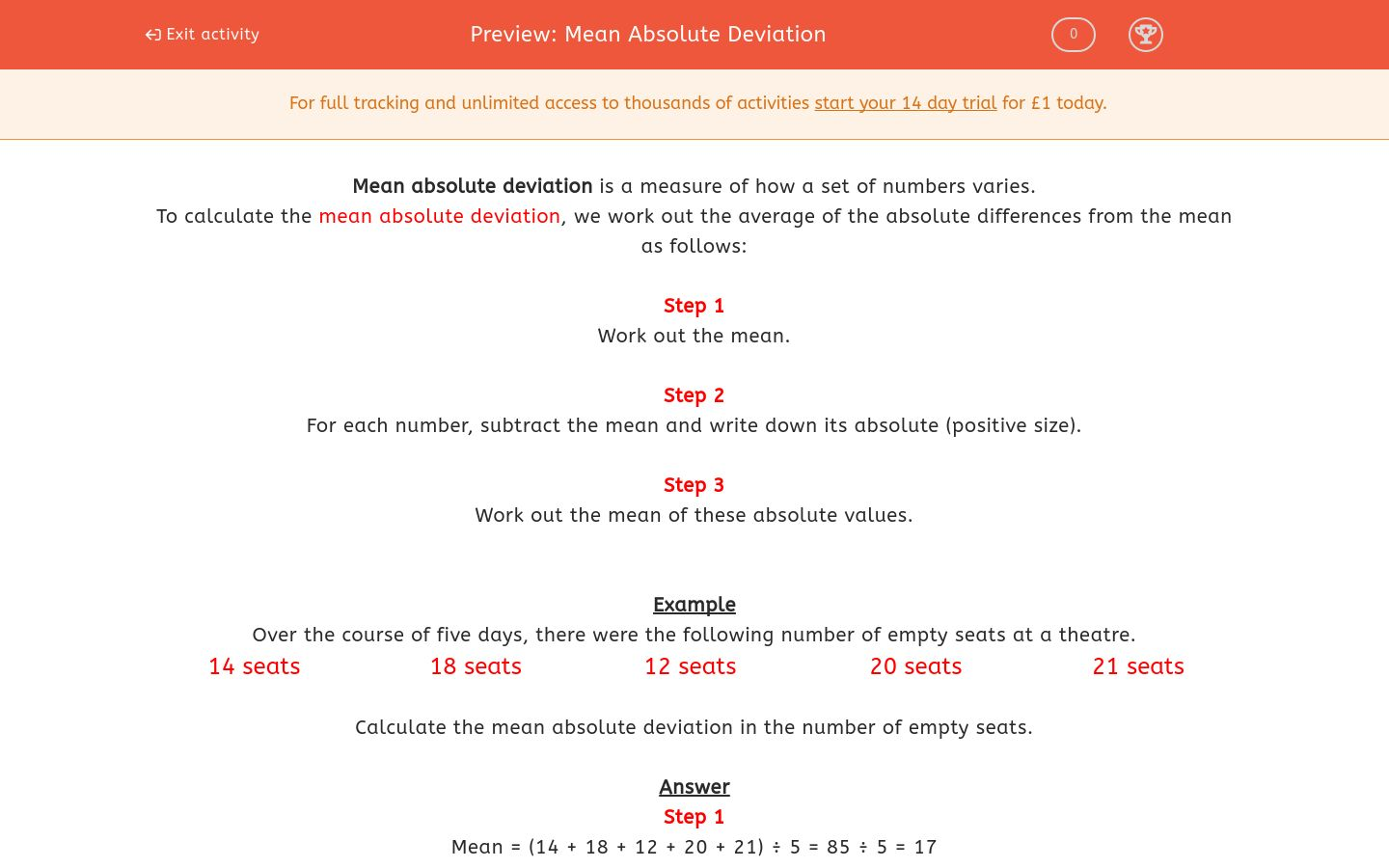Mean Absolute Deviation Worksheet - EdPlace