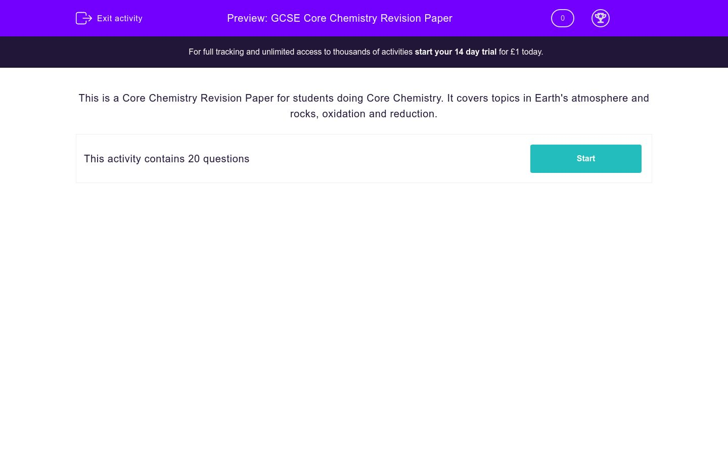 'GCSE Core Chemistry Revision Paper' worksheet