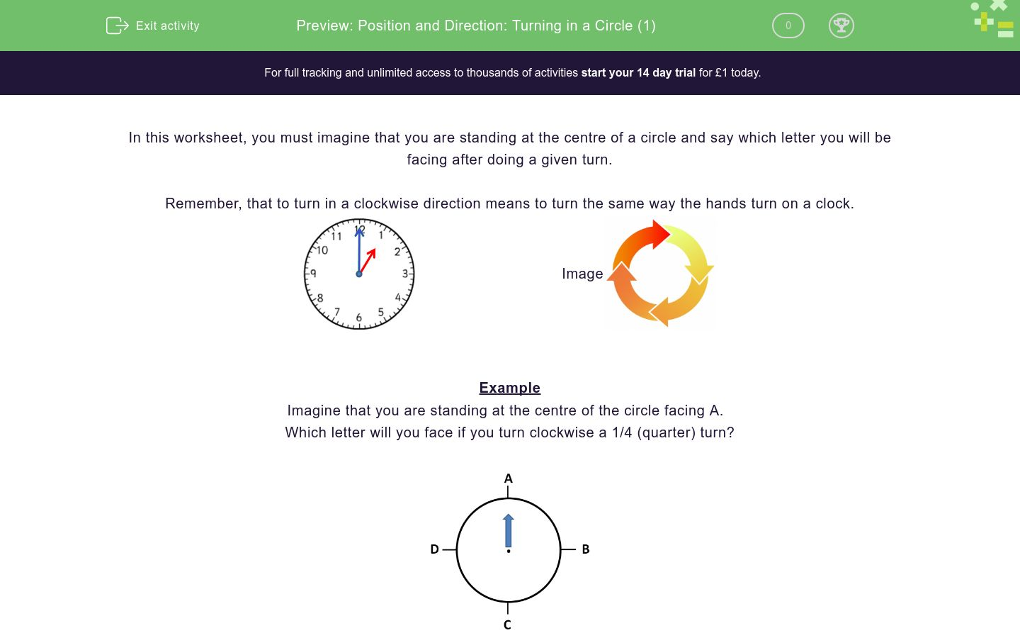 'Position and Direction: Turning in a Circle (1)' worksheet
