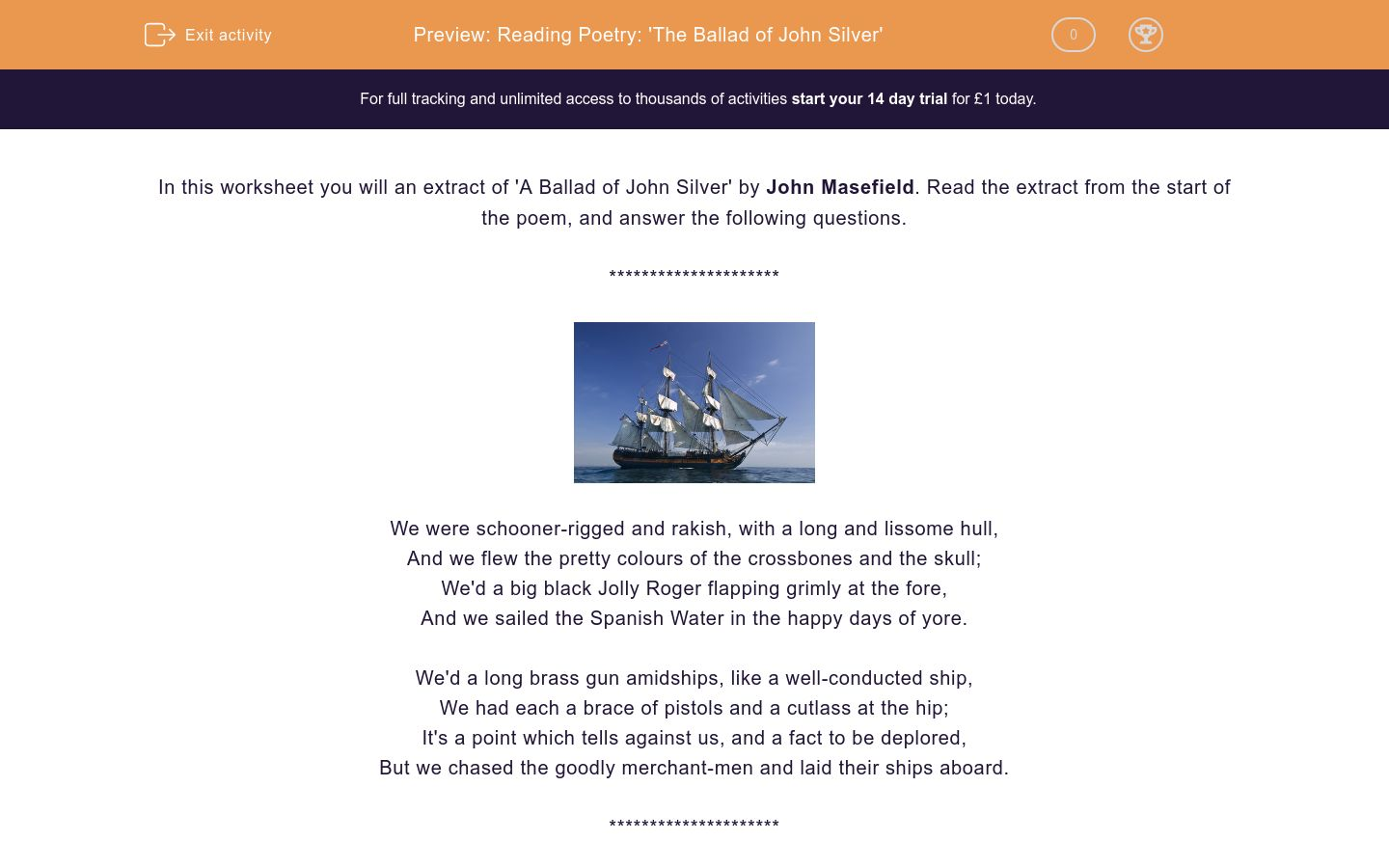 'Reading Poetry: 'The Ballad of John Silver'' worksheet
