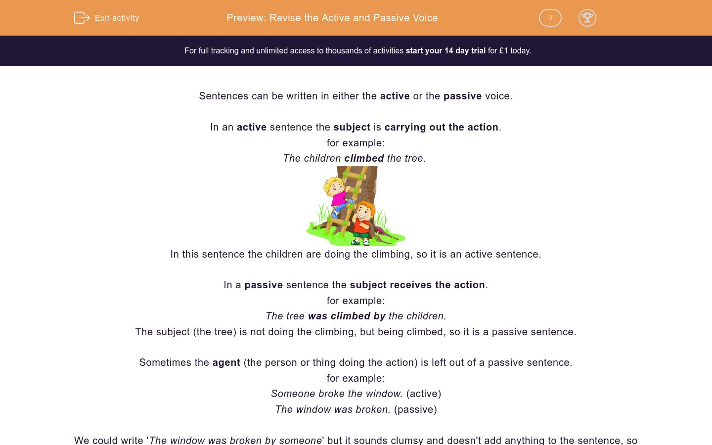 'Revise the Active and Passive Voice' worksheet
