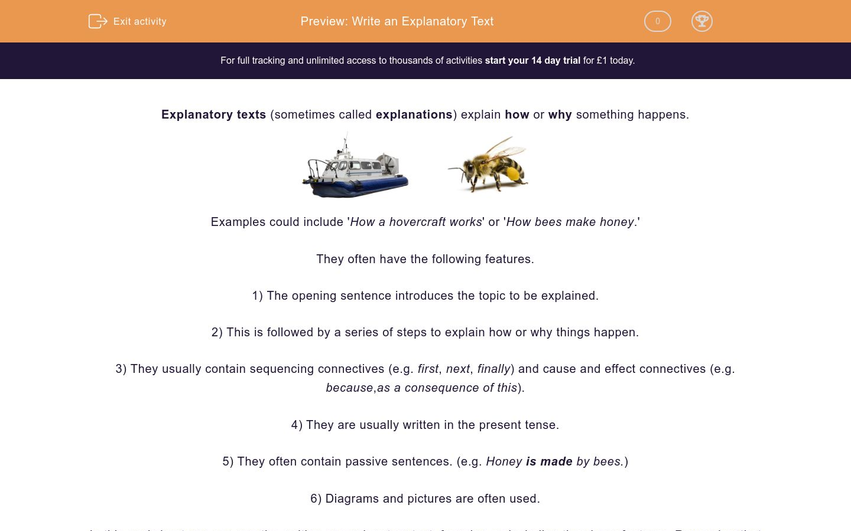 'Write an Explanatory Text' worksheet