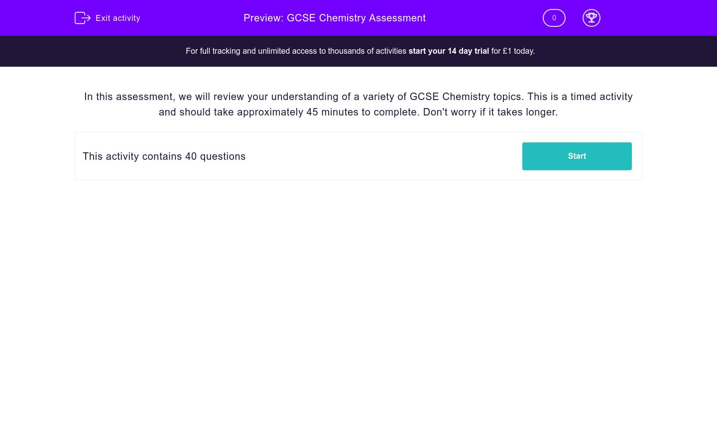 'GCSE Chemistry Assessment' worksheet
