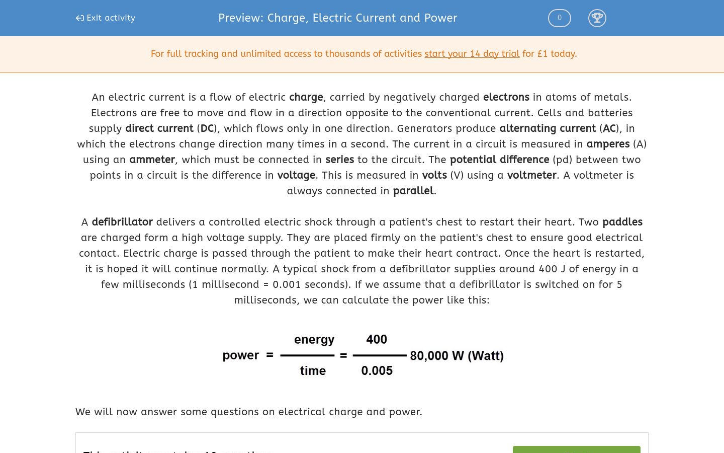 Charge Electric Current And Power Worksheet Edplace