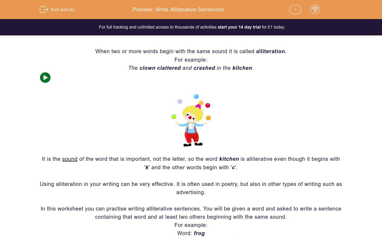 'Write Alliterative Sentences' worksheet