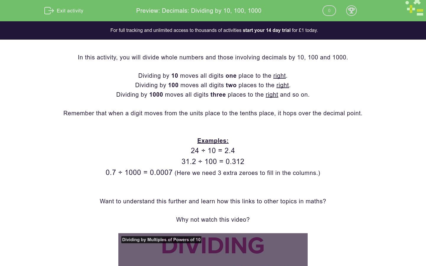 'Decimals: Dividing by 10, 100, 1000' worksheet