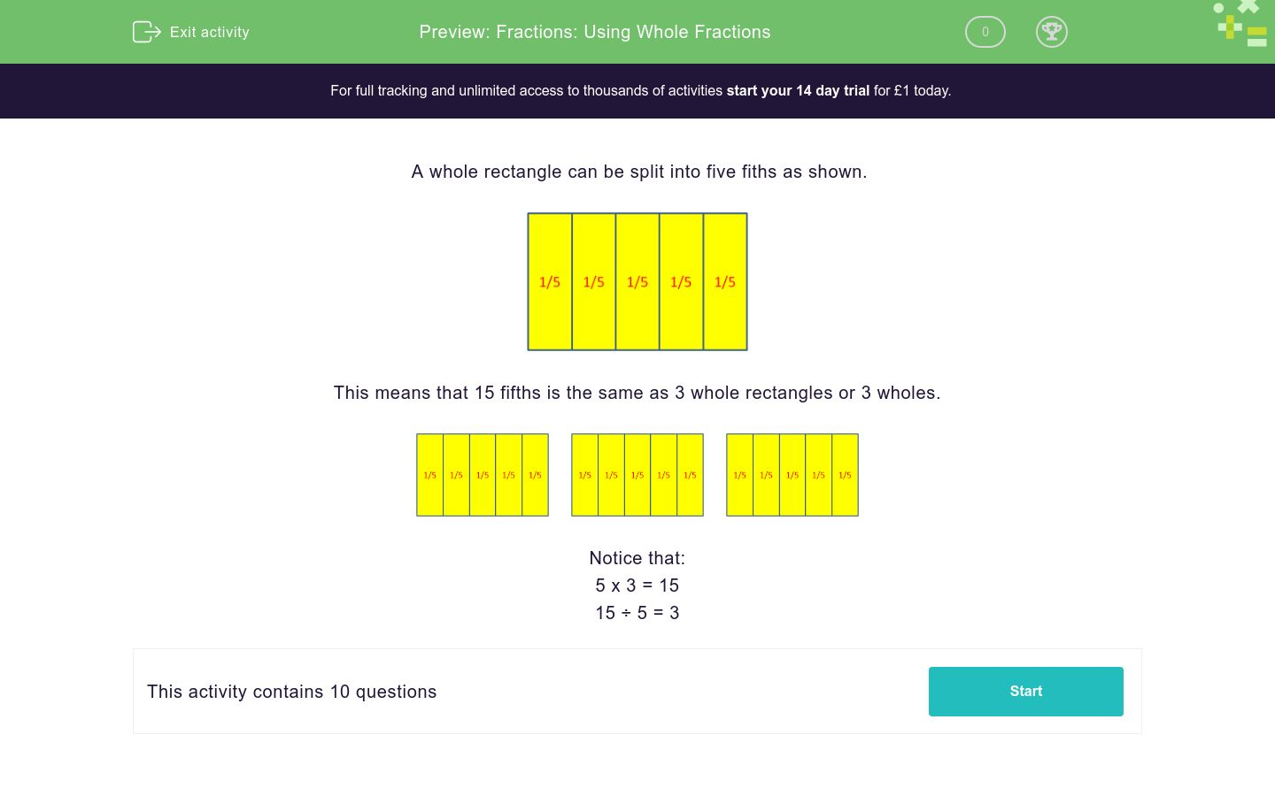 'Fractions: Using Whole Fractions' worksheet