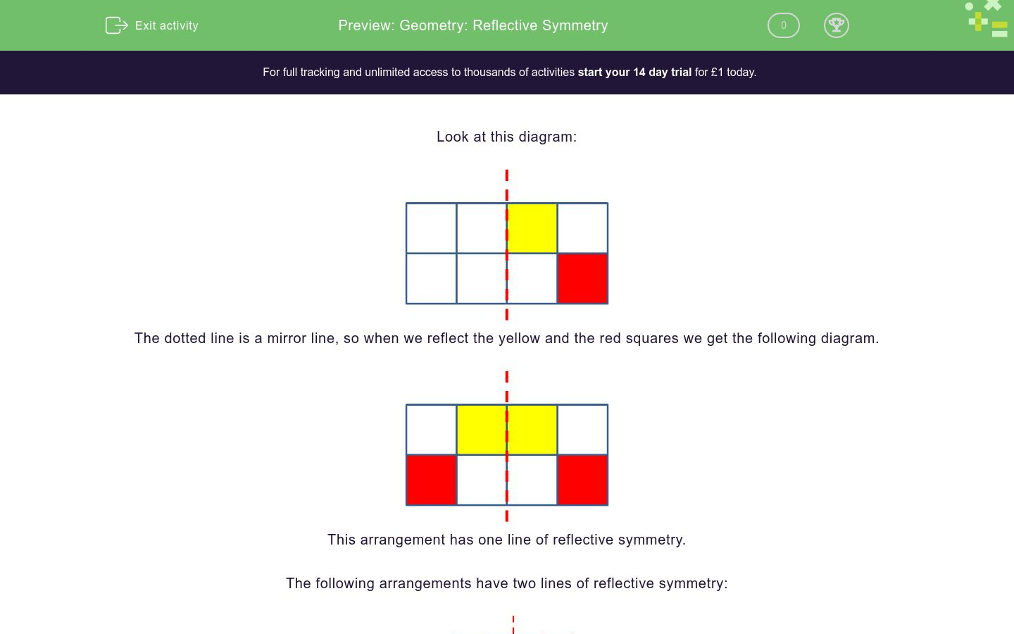 'Geometry: Reflective Symmetry' worksheet