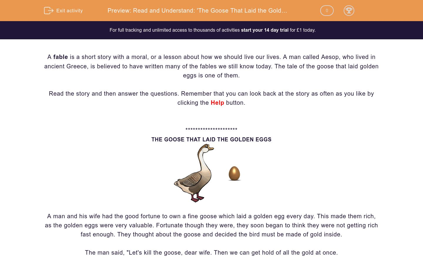 'Read and Understand: 'The Goose That Laid the Golden Eggs'' worksheet