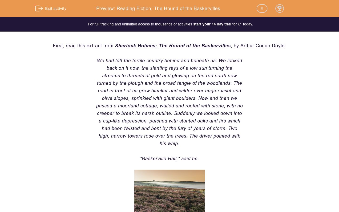 'Reading Fiction: The Hound of the Baskervilles' worksheet