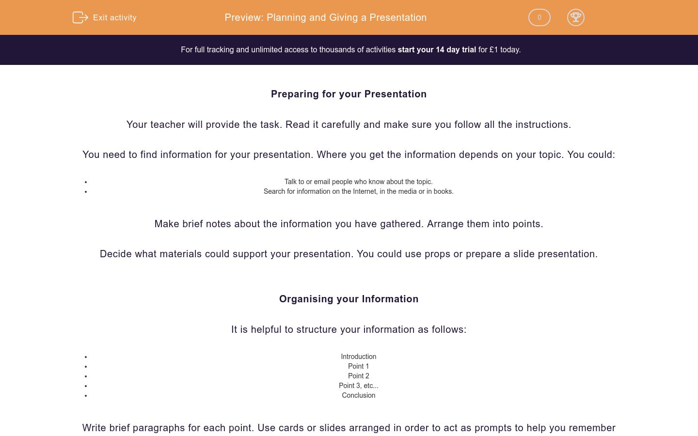'Planning and Giving a Presentation' worksheet