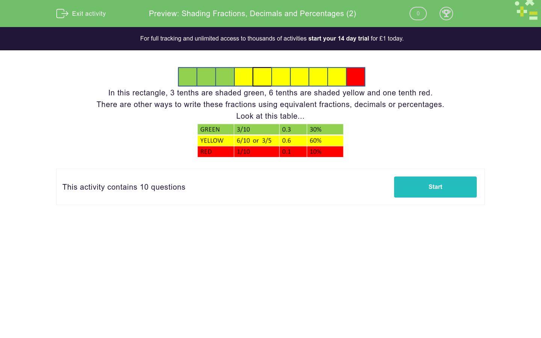 'Shading Fractions, Decimals and Percentages (2)' worksheet