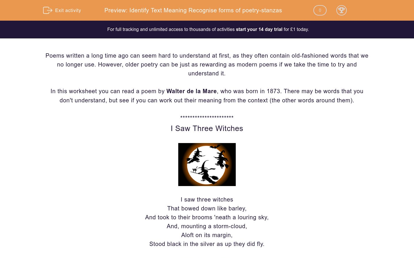 'Read and Understand Poetry: 'I Saw Three Witches'' worksheet