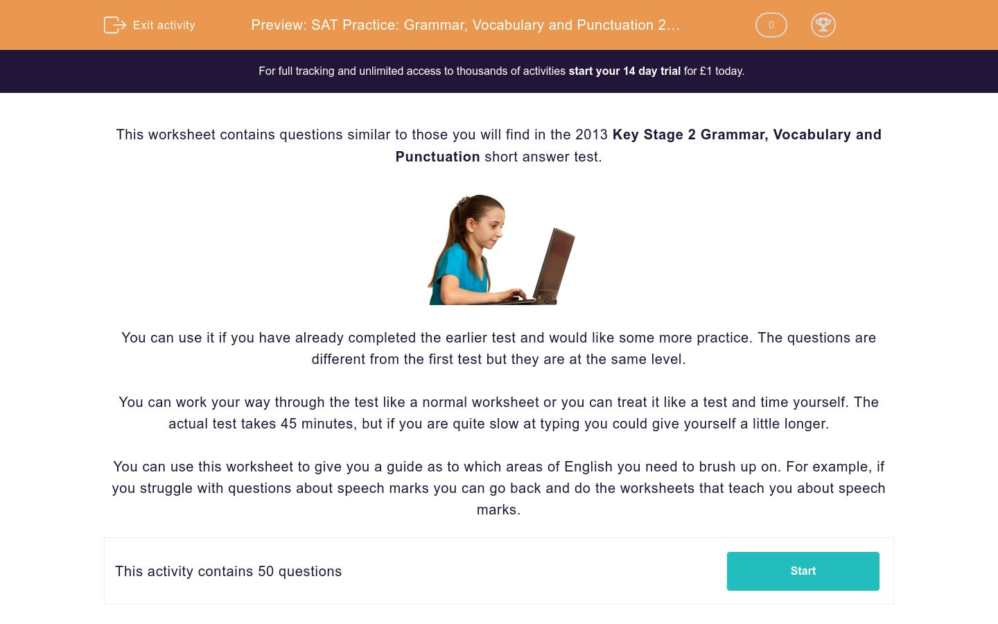 'SAT Practice: Grammar, Vocabulary and Punctuation 2 (2013)' worksheet