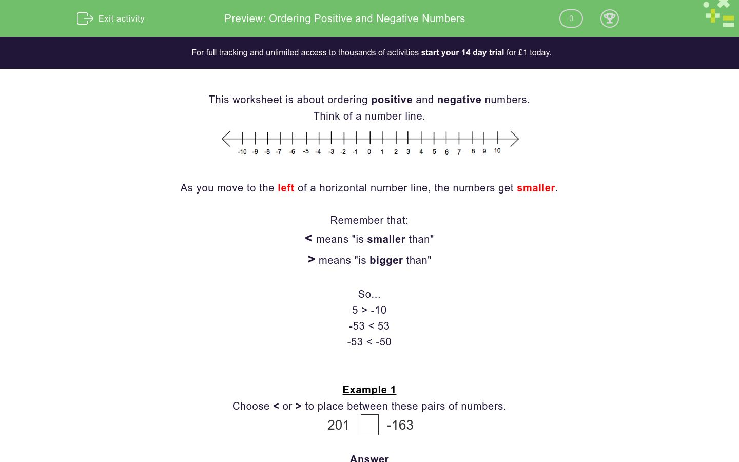 'Ordering Positive and Negative Numbers' worksheet