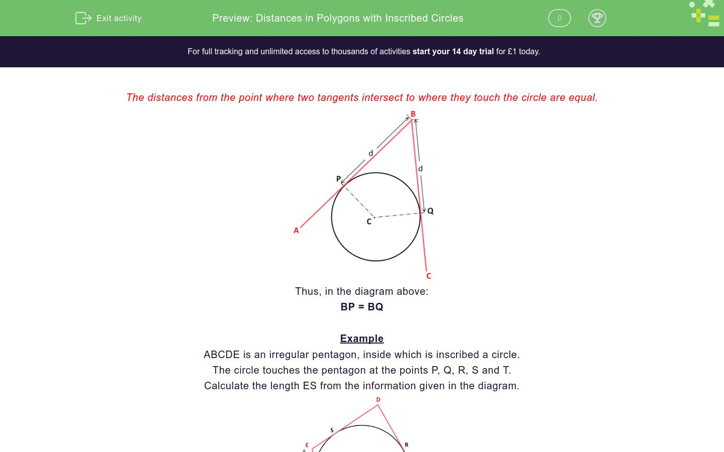 Distances In Polygons With Inscribed Circles Worksheet Edplace