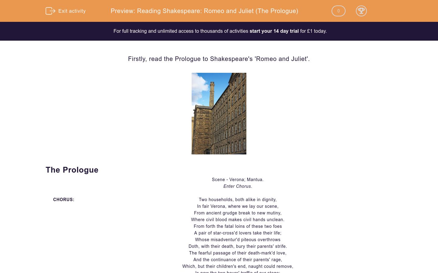 'Reading Shakespeare: Romeo and Juliet (The Prologue)' worksheet