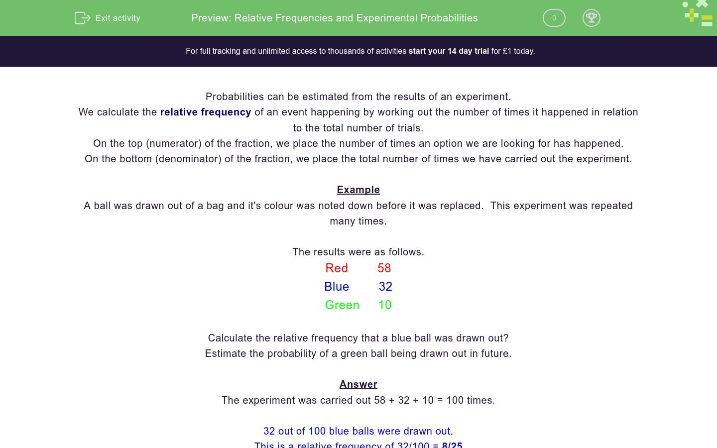 'Relative Frequencies and Experimental Probabilities' worksheet