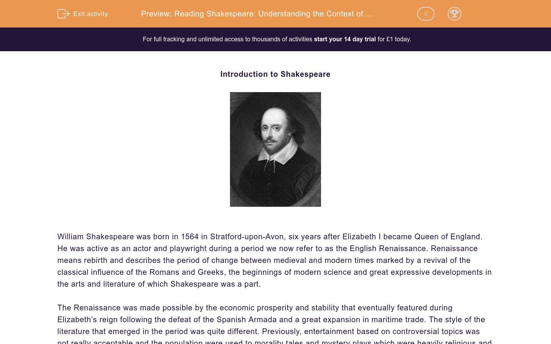 'Reading Shakespeare: Understanding the Context of His Work' worksheet