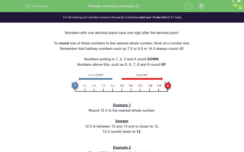 'Rounding Decimals (2)' worksheet