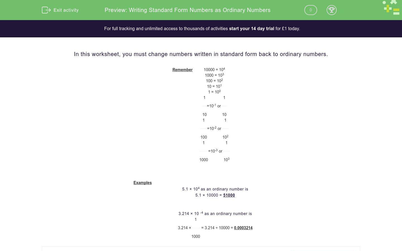 'Writing Standard Form Numbers as Ordinary Numbers ' worksheet