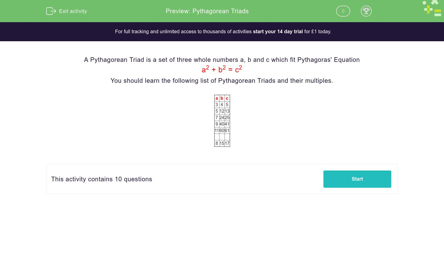'Pythagorean Triads' worksheet