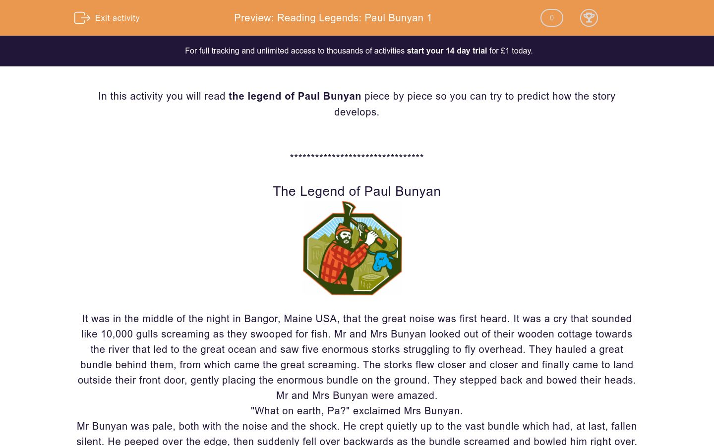 'Reading Legends: Paul Bunyan 1' worksheet