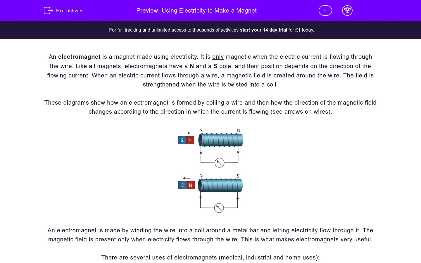 'Using Electricity to Make a Magnet' worksheet