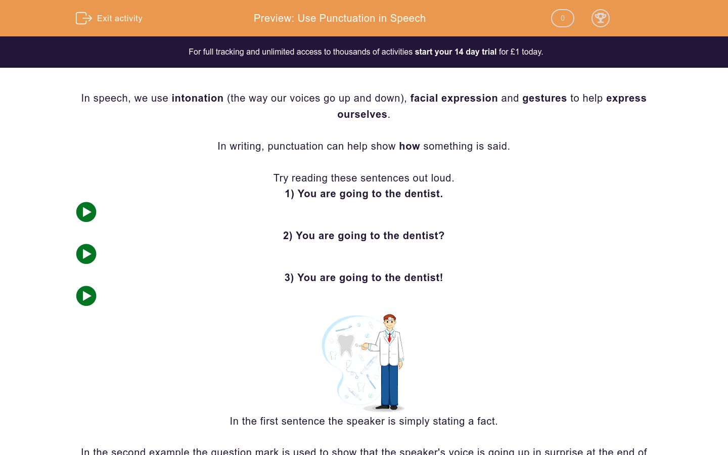 'Use Punctuation in Speech' worksheet