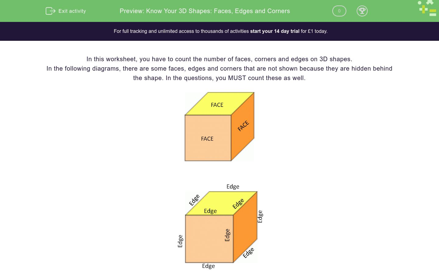 'Know Your 3D Shapes: Faces, Edges and Corners' worksheet