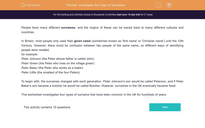 'Investigate the Origin of Surnames' worksheet