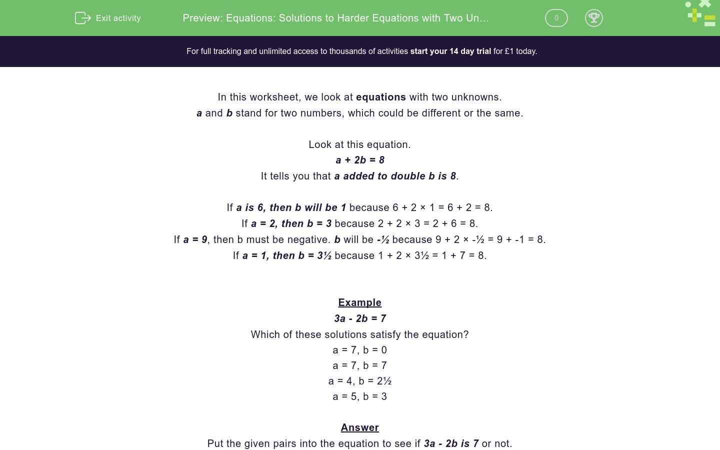 'Equations: Solutions to Harder Equations with Two Unknowns' worksheet