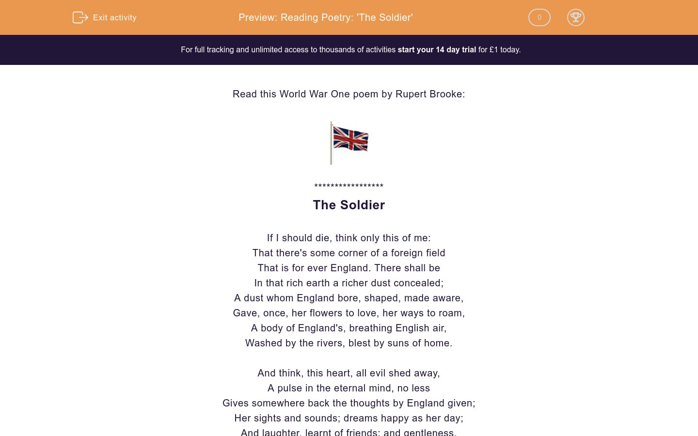 'Reading Poetry: 'The Soldier'' worksheet
