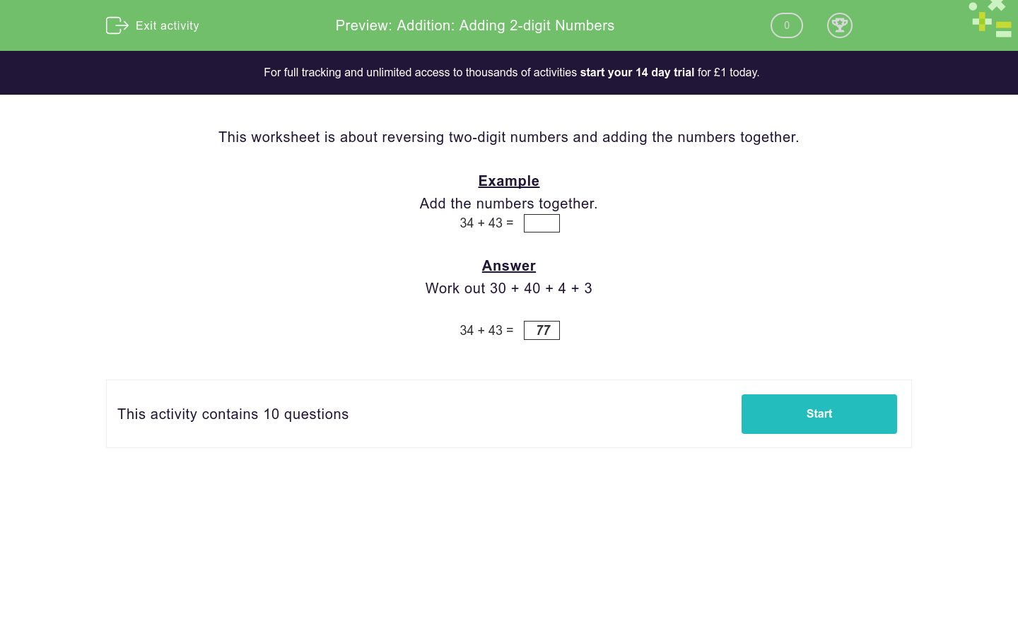 'Addition: Adding 2-digit Numbers' worksheet