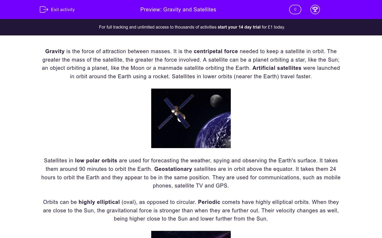 'Gravity and Satellites' worksheet